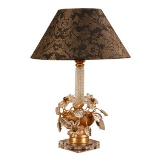 1970s Mid-Century Table Lamp with Clear Crystal Flowers For Sale