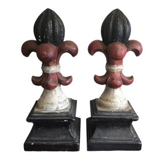 1970s Vintage Fleur De Lis Oversized Jumbo Sculptural Finials- A Pair For Sale