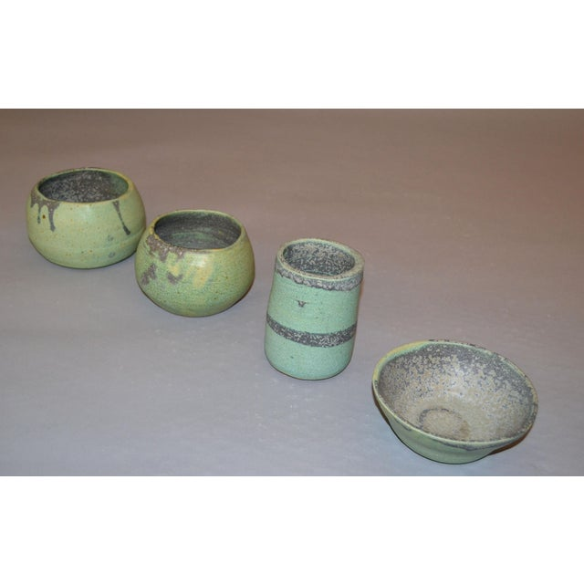 Vintage Handcrafted Aztec Green and Gray Pottery Bowls / Vessel - Set of 4 For Sale - Image 12 of 13