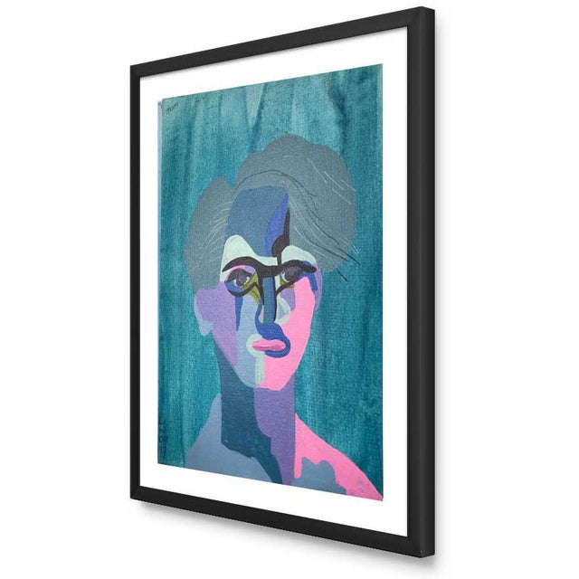 "Abstract Contemporary Abstract Portrait Painting ""This Much He Knows"" - Framed For Sale - Image 3 of 11"