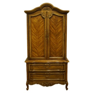 """Stanley Furniture Country French Louis XVI Bookmatched 40"""" Armoire / Door Chest 5413-14 For Sale"""