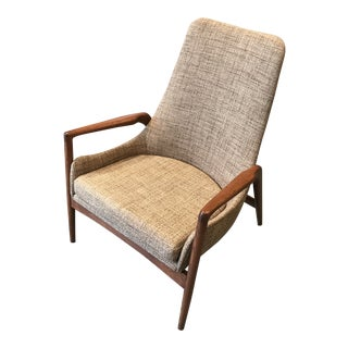 Ib Kofod-Larsen High Back Lounge Chair Danish Modern For Sale