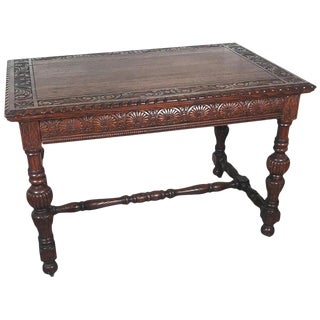 19th Century Jacobean Carved Dark Oak Library Table For Sale