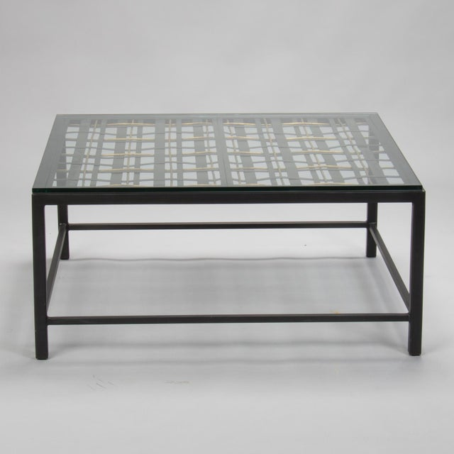 Circa 1940s decorative woven metal and iron fragment used as the top for this cocktail / coffee table. Wide flat metal...