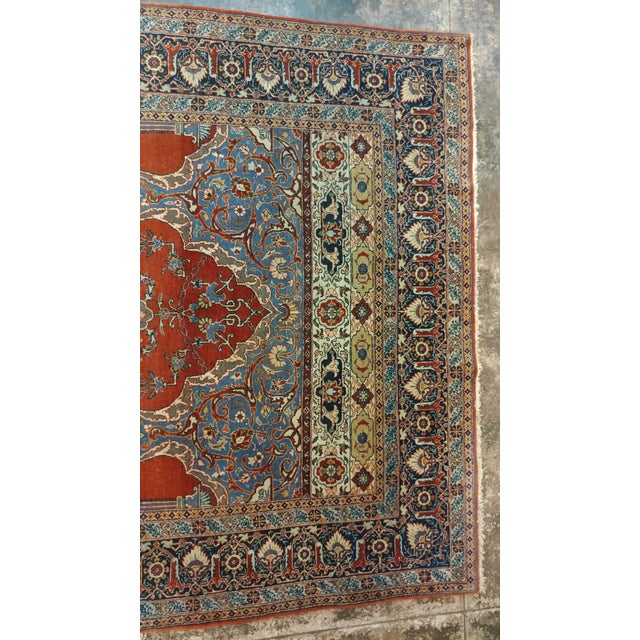 Textile Antique Hand Made Persian Mashhad Rug - 4′4″ × 7′ For Sale - Image 7 of 10