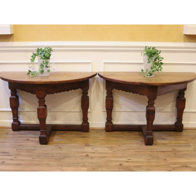 Country 19th Century Country Oak Demi Lune Console Tables - a Pair For Sale - Image 3 of 11