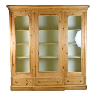 1980s Rustic Pine Breakfront Bookcase China Curio Cabinet For Sale