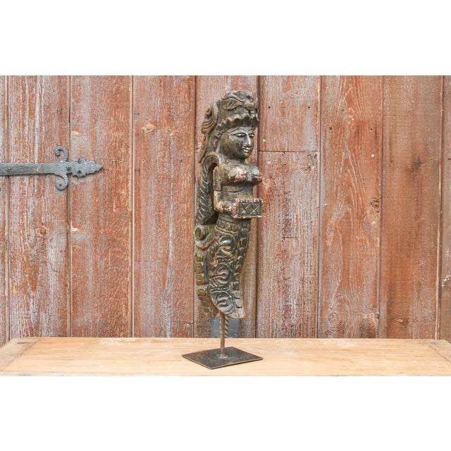 Aged Carved Angel Statue on Stand For Sale In Los Angeles - Image 6 of 7