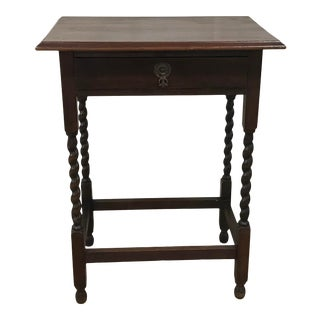 Vintage English Barley Twist Side Table With Drawer For Sale