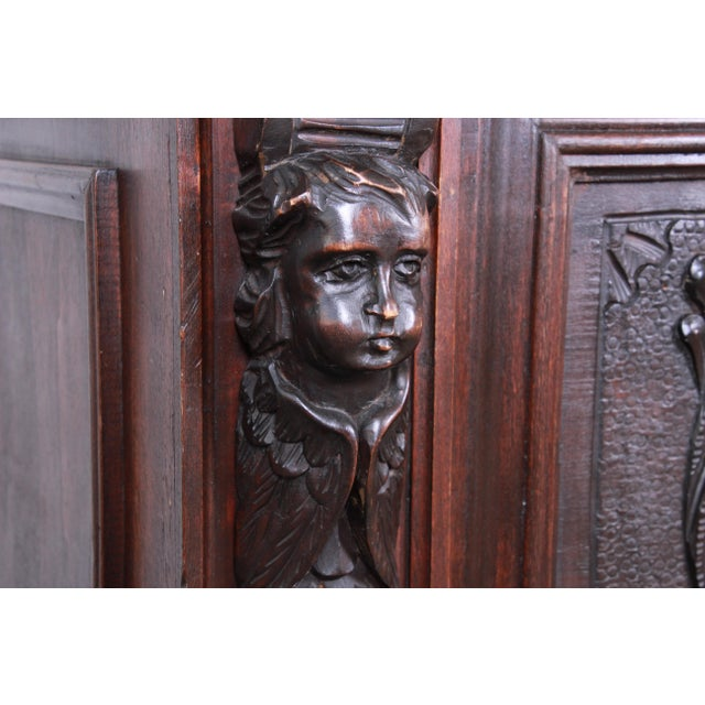 19th Century French Black Forest Carved Walnut Sideboard or Bar Cabinet For Sale - Image 9 of 13