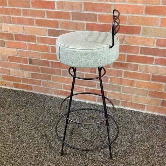 Mid-Century Modern Wrought Iron Stool - Image 4 of 10