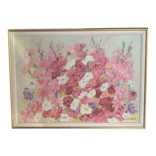 Original Signed Oil Painting of Bright Pink and Yellow Flowers For Sale
