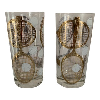 Georges Briard Gilt Tennis Highball Glasses For Sale