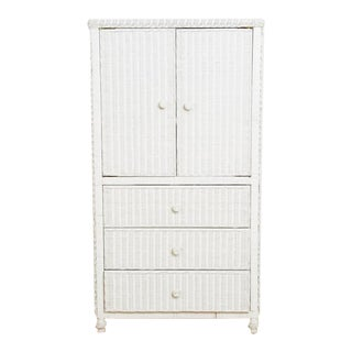 1980s White Bielecky Brothers Style Wicker Tv Cabinet For Sale