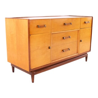 Milo Baughman for Drexel Todays Living Style Mid Century Blonde and Brass Buffet Sideboard For Sale