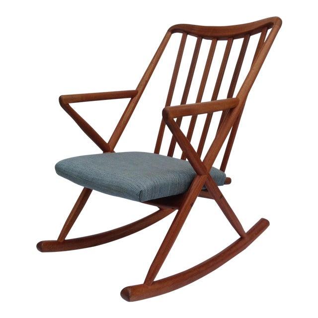 Benny Linden Danish Mid-Century Teak Rocking Chair For Sale