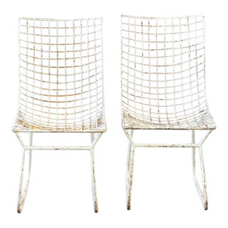 Mid-Century White Metal Chairs - a Pair For Sale
