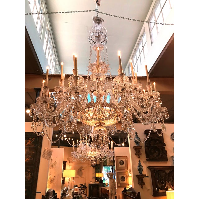 A Pair of Large Scale Majestic 24-Light Cut-Crystal Chandeliers For Sale - Image 11 of 12
