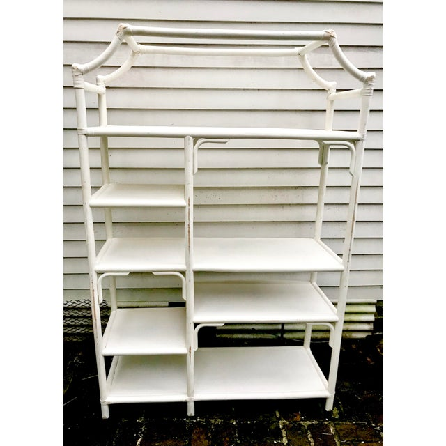 White Vintage Pagoda Rattan & Cane Shelving Unit For Sale - Image 8 of 11