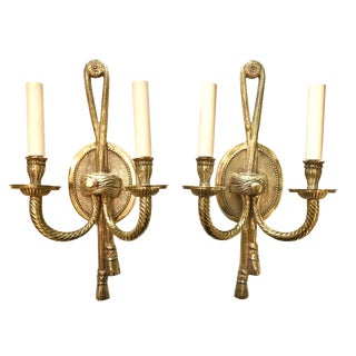 1940s French Neoclassical Style Cast Brass Sconces - a Pair For Sale