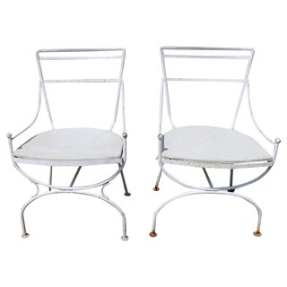 2 Neoclassic Form Garden Chairs For Sale