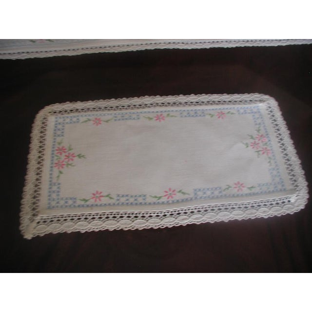 Hand Embroidered Furniture Scarves - Set of 4 - Image 4 of 10