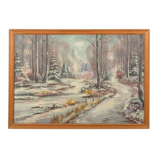Mid-Century Snowy Forest Landscape For Sale