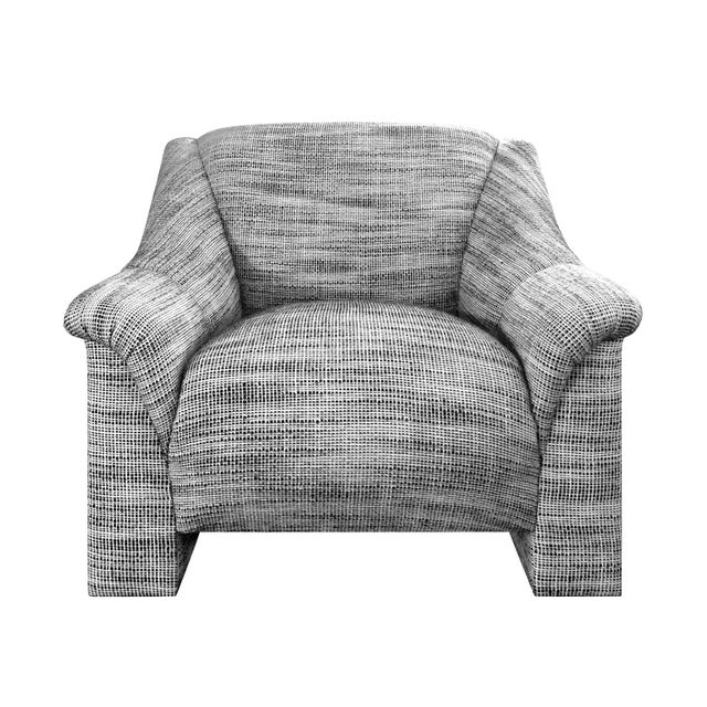 1970s Modernist Lounge Chair in Black and White Wool Basketweave Upholstery For Sale - Image 4 of 5