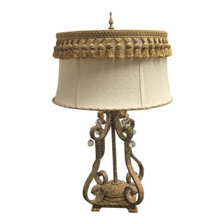 Rococo Distressed Gold Finish Table Lamp For Sale