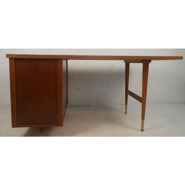 John Widdicomb Mid-Century Finished Back Executive Desk - Image 7 of 10