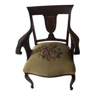 1930s Vintage Art Deco Needlepoint Accent Chair For Sale