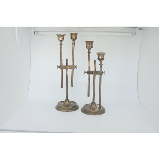 Brass Industrial Adjustable Candlesticks - Pair - Image 3 of 9