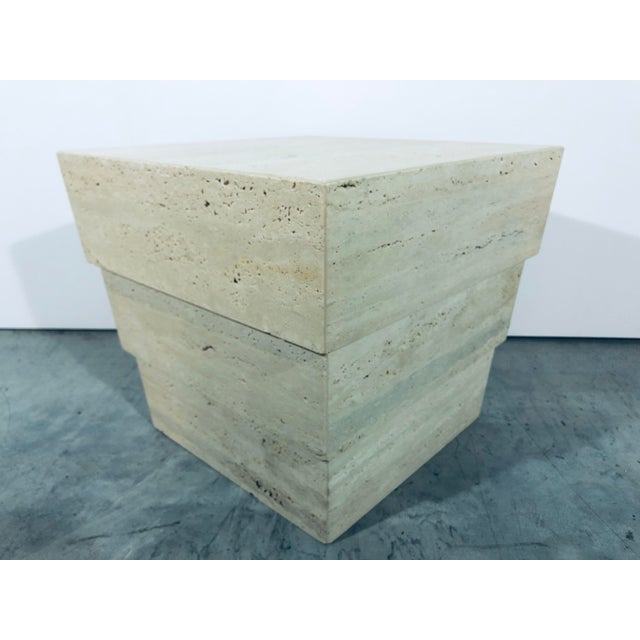 1970s Mid-Century Modern Italian Travertine Pedestal For Sale In Miami - Image 6 of 12