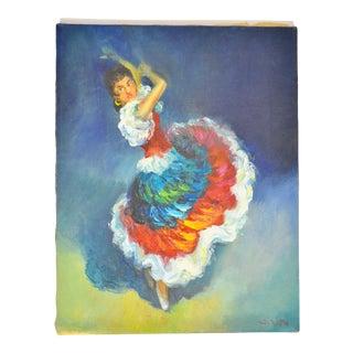 "Vintage ""Flamenco Dancer"" Signed Oil Painting For Sale"