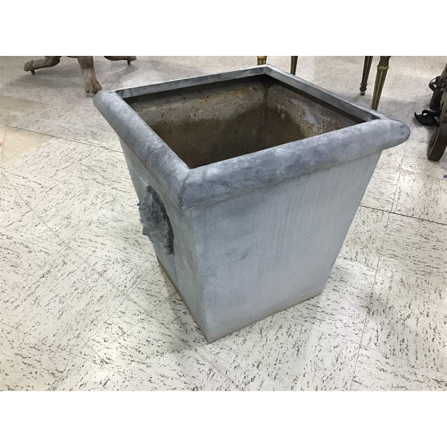 Late 20th Century Large Vintage Neoclassic Style Metal Planter For Sale - Image 5 of 8