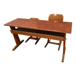 1950's Vintage Casala German Double School Desk Set - 3 Pieces For Sale