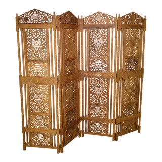 Vintage Carved Hardwood Folding Screen Room Divider w/ Brass Inlay