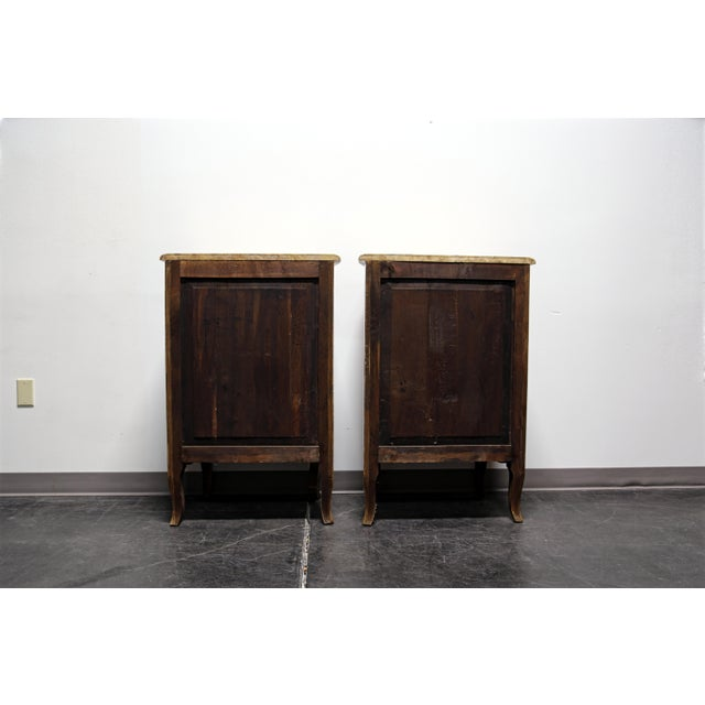 French Louis XV Style Inlaid Kingwood Marble Top Lingerie Chests - Pair For Sale - Image 9 of 13