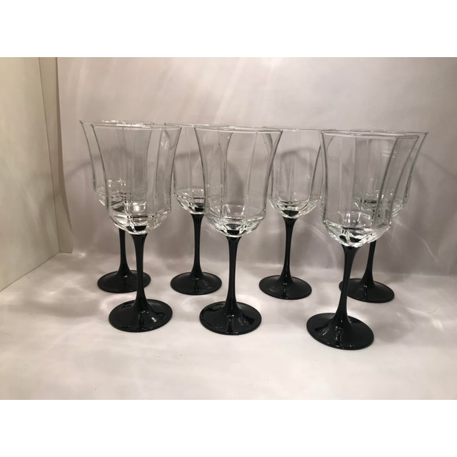 Contemporary Vintage French Black Stem Water/Wine Glasses - set of 7 For Sale - Image 3 of 3