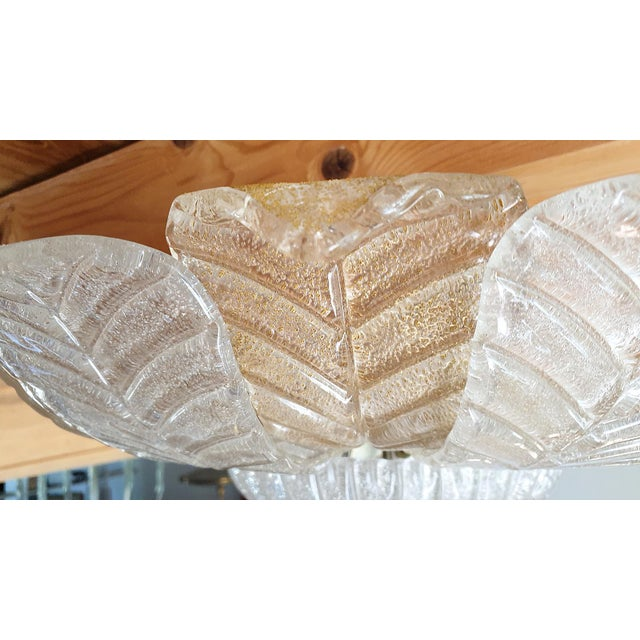 Mid Century Modern Leaf Murano Glass Flush Mount Light by Barovier 1960- 2 Available For Sale - Image 9 of 11