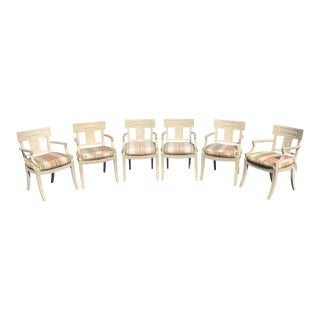 Vintage Mid Century Regency Dining Armchairs- 6 Pieces For Sale
