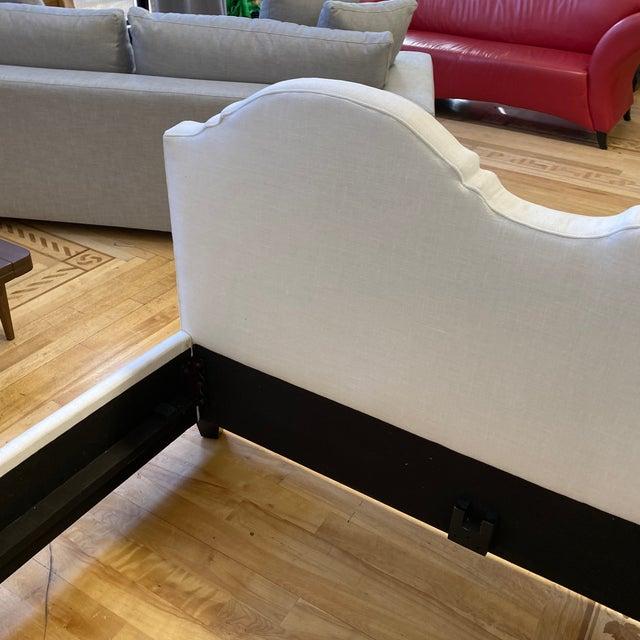 New Queen Size Custom Design Upholstered Linen Bed Frame For Sale In San Francisco - Image 6 of 13