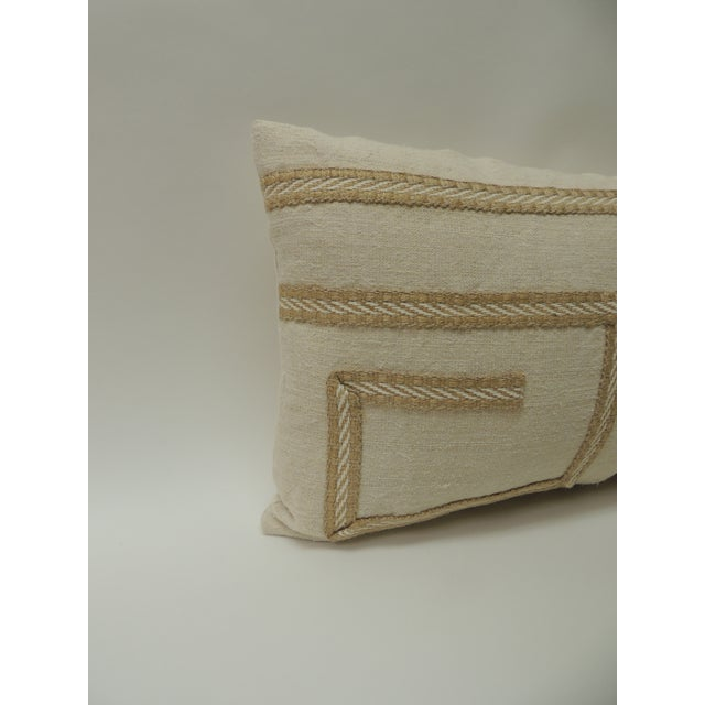 Boho Chic Vintage Linen Bolster Decorative Pillow With Vintage Jute Trims For Sale - Image 3 of 5