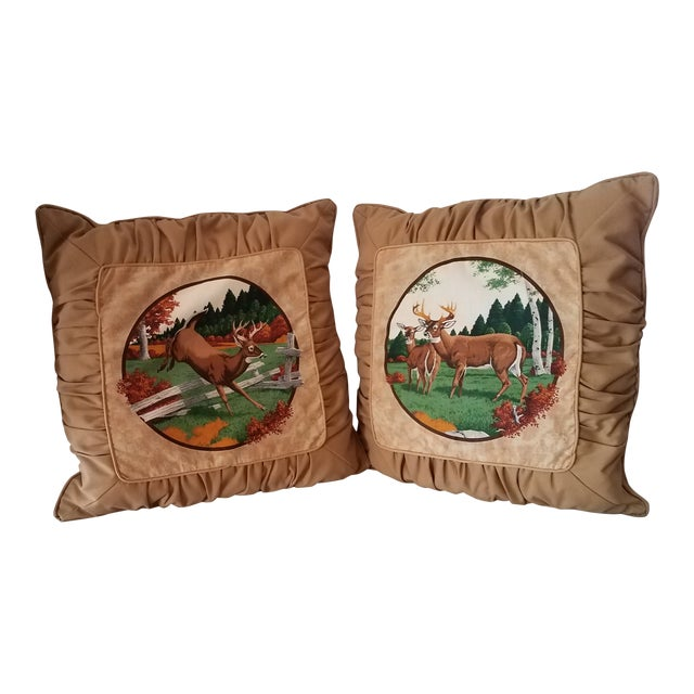 Tufted Deer Accent Pillows - A Pair For Sale