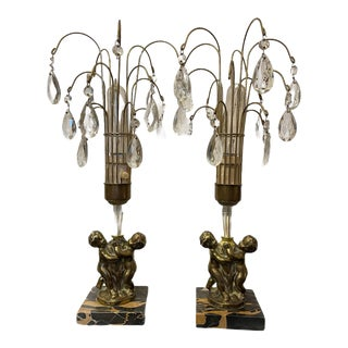 Antique Early 20th Century Art Nouveau Brass Cherub Black Marble Crystal Lamps - a Pair For Sale