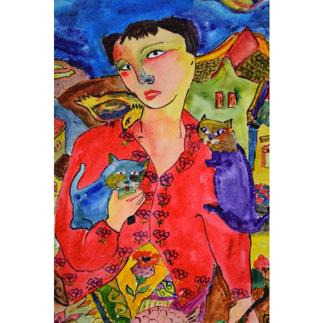"""Watercolor Original """"Young & Pretty"""" Mixed Media Painting by Martin Loh For Sale - Image 7 of 10"""