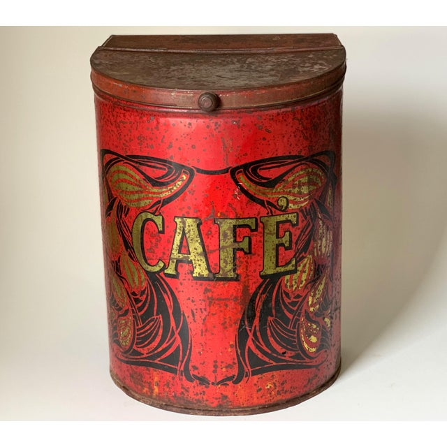 1920s Large French Country Store Coffee Tin For Sale - Image 11 of 11