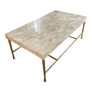 Contemporary Jovan Coffee Table With Clamstone Top Gilded Iron Base For Sale