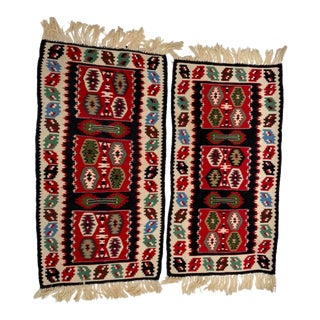 Vintage Dhurrie Style Table Runner - a Pair For Sale