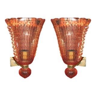 1940s Vintage Venetian Murano Glass Sconces - a Pair For Sale